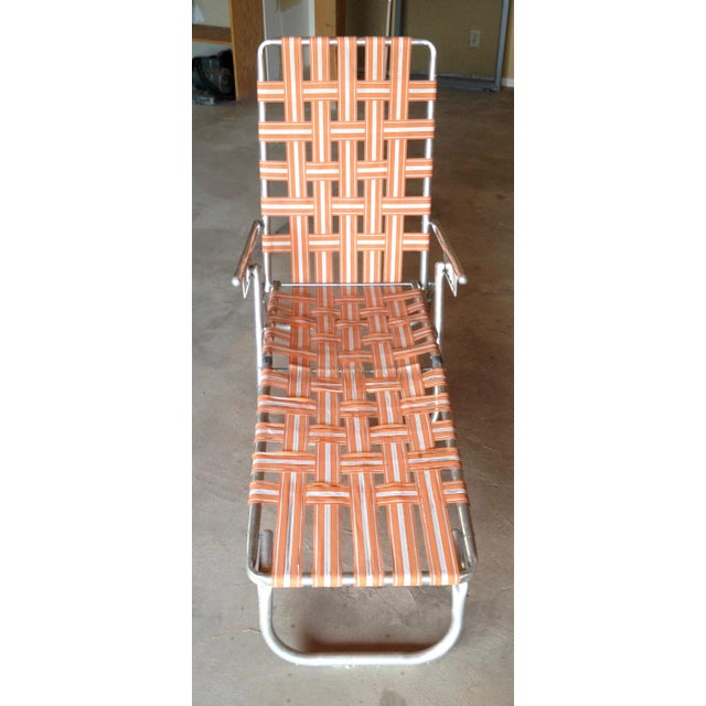 Mid-Century Modern Mid-Century Aluminum Webbed Outdoor Chaise Lounge For Sale - Image 3 of 8