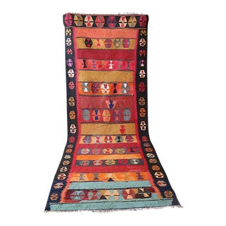 On Hold Boho Chic Moroccan Kilim 4 Ft X 12 Ft For Sale