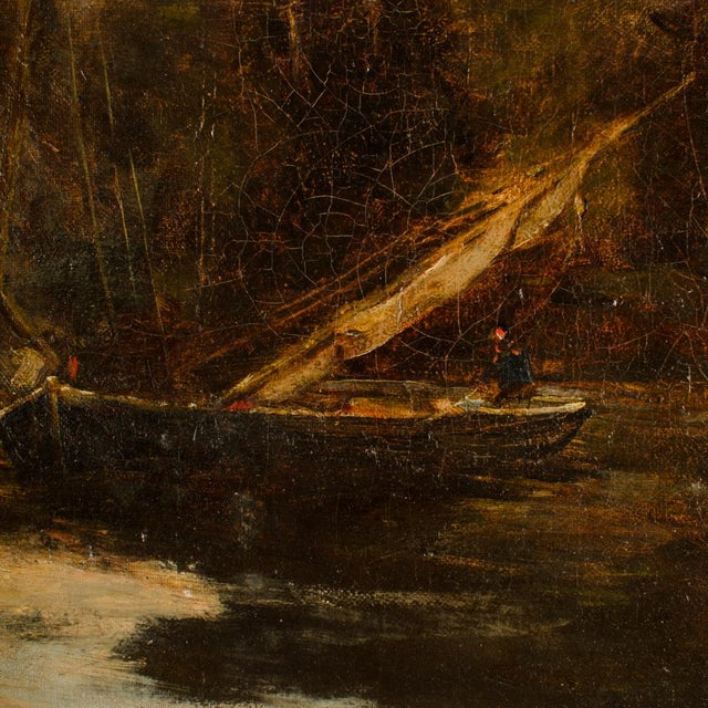 "Realism Late 19th Century ""On the Canal"" Coastal Oil Painting For Sale - Image 3 of 13"