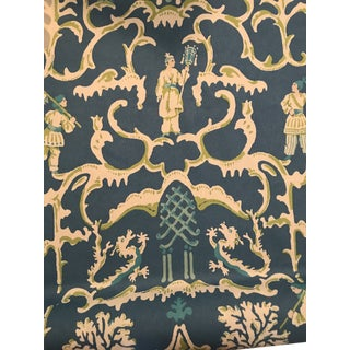 Chinoiserie Dana Gibson's Stroheim Folly Peacock Linen Fabric - 7 Yards For Sale