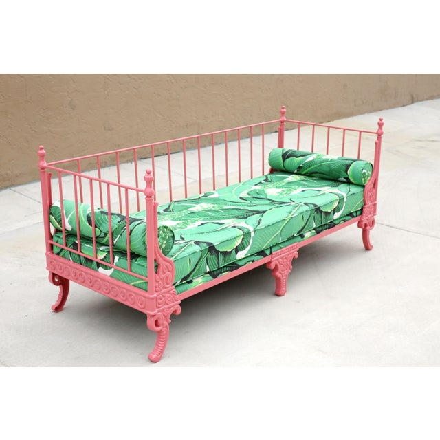 Blush Antique French Iron Daybed - Professionally Restored W/ Dorothy Draper Fabric For Sale - Image 4 of 12