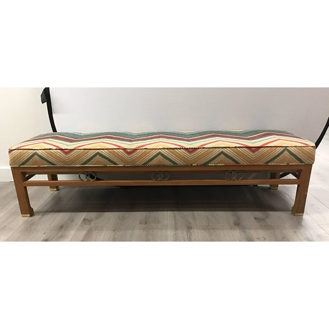 1980s 1980s James Mont Style Upholstered Long Bench For Sale - Image 5 of 6