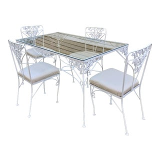 Woodard Mid Century Grapevine Pattern White Wrought Iron Dining Set For Sale