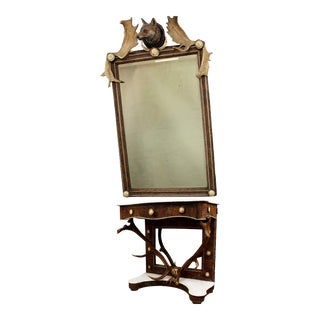 Antique Antler Mirror With Console Table, Austria, Ca. 1860 For Sale