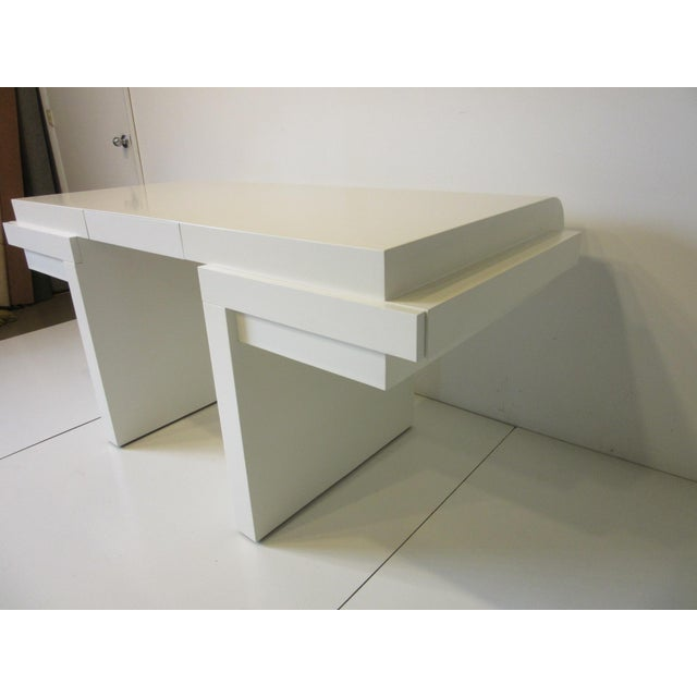 Late 20th Century 70's Cream Lacquer Sculptural Desk For Sale - Image 5 of 12