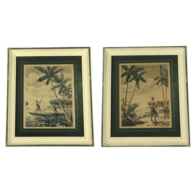 """""""Island Fisherman"""" & """"Coral Island"""" Tropical Watercolors Prints - A Pair For Sale"""