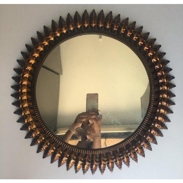 Mid-Century Spanish Sunburst Round Copper Mirror, 1950s - Image 2 of 5