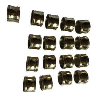 Brass Lacquered Christmas Holiday Napkin Rings - Set of 16 For Sale