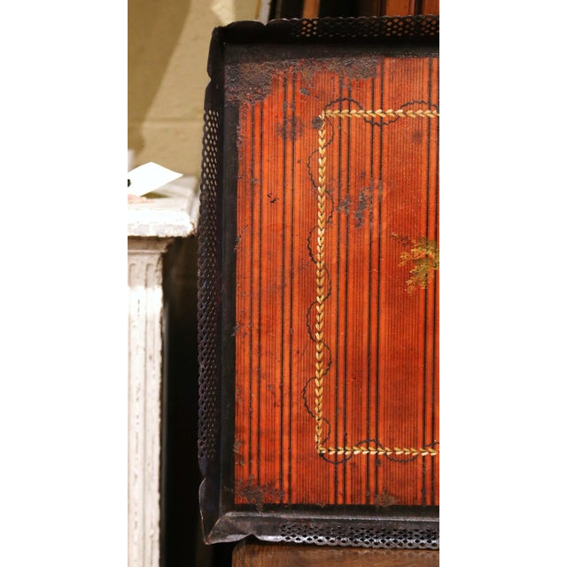 Mid 19th Century Mid-19th Century French Napoleon III Hand Painted Tole Tray With Bird Motifs For Sale - Image 5 of 7