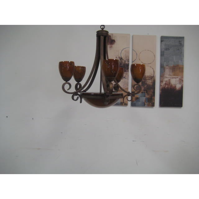 Blown Glass Rustic Chandelier - Image 3 of 8