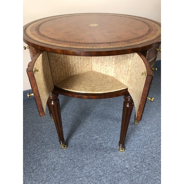 1990s Round Leather Wrapped Side Table Cabinet With Trompe l'Oeil Books For Sale - Image 5 of 13