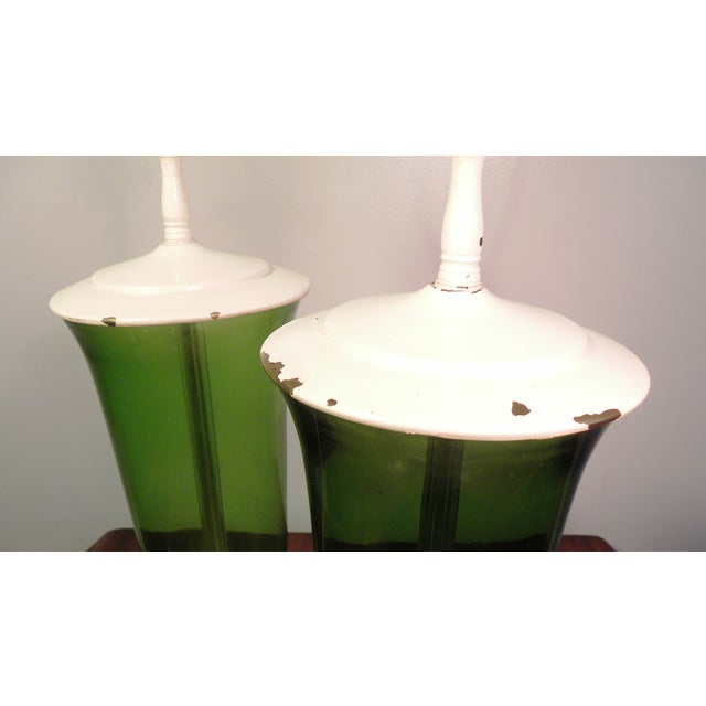 Vintage Mid Century Green Glass Table Lamps - Pair | Chairish