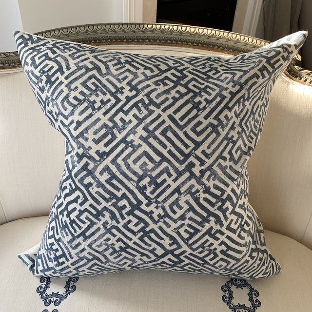 """Chic linen pillow beautifully made with """"Basilica"""" a Zak & Fox hand printed linen. Features knife edge, complementary..."""