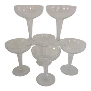 Vintage French 1930's Art Deco Hollow Hexagon Stem Champagne Coupes - Set of 6 For Sale