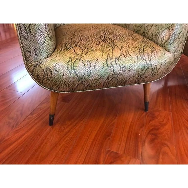 Metal Italian Mid-Century Modern Club Chairs with Faux Snake Skin - A Pair For Sale - Image 7 of 9