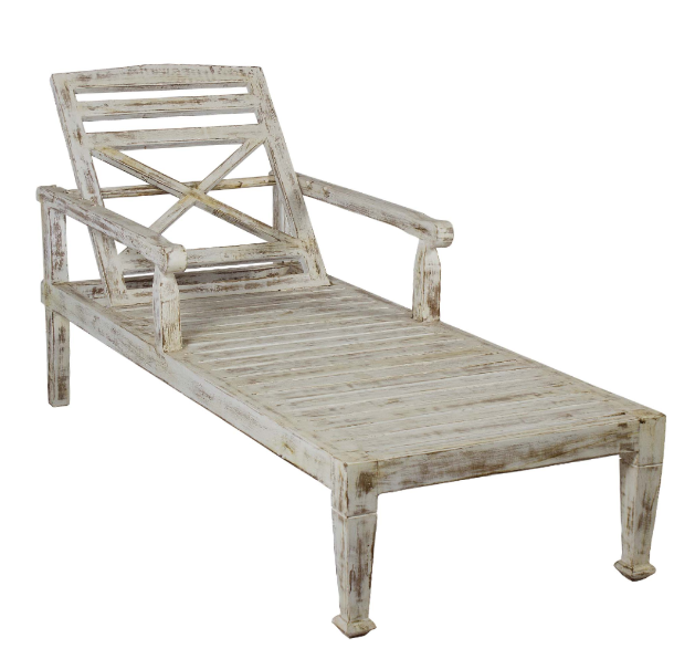 Distressed White Teak Wood Chaise Lounge Chair