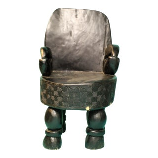 Folk Art Hand Carved Black Wooden Accent Chair For Sale