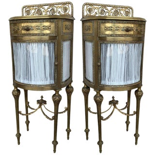 19th Louis XVI Pair of Bronze Vitrine NightStand With Curved Glass Door & Drawer For Sale
