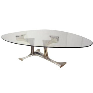 Gerard Mannoni Exceptional Dining Table in Aluminum and Glass France circa 1970 For Sale