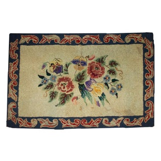 "1900s Handmade Antique American Hooked Rug - 2'2"" X 3'4"" For Sale"