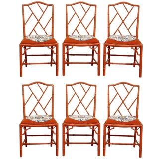 Faux Bamboo Chinese Chippendale Lacquered Chairs - Set of 6