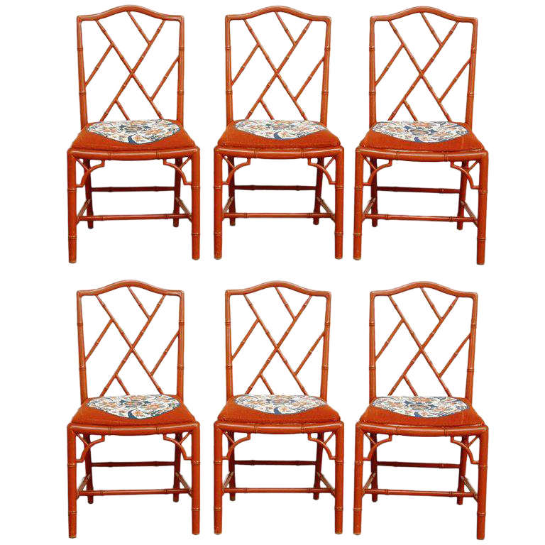Exceptional Faux Bamboo Chinese Chippendale Lacquered Chairs   Set Of 6