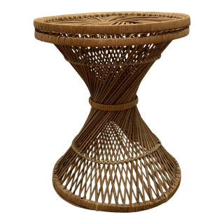 1970s Vintage Rattan Wicker Hourglass Stand/Side Table For Sale