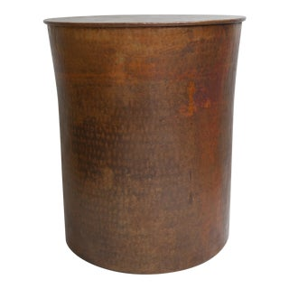 Rustic Hammered Copper Side Table For Sale