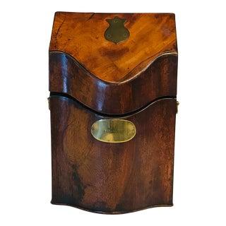 19th Century Inlaid Mahogany Cutlery Box For Sale
