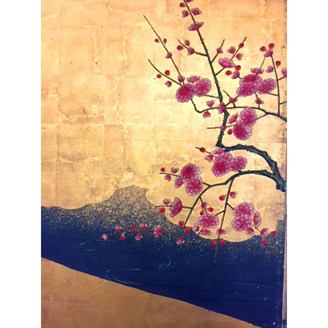 Asian 18th Century Antique Japanese Gold Leaf Screen with Blossoms and Birds For Sale - Image 3 of 10
