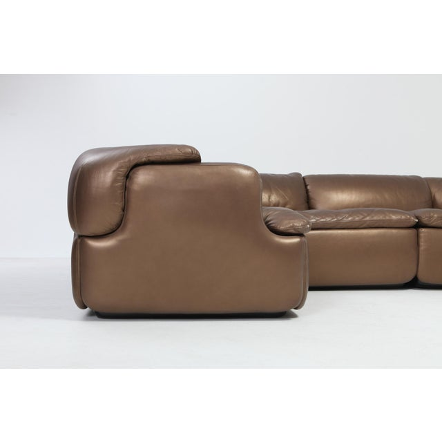 Bronze Leather Saporiti High-End Sectional Sofa 'Confidential' For Sale - Image 10 of 12