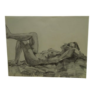 "1958 Mid-Century Modern Original Drawing on Paper, ""Laying Nude Outside"" by Tom Sturges Jr"