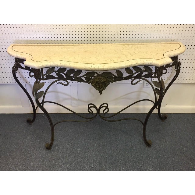 Antique Faux Marble and Iron Console Table For Sale - Image 11 of 11