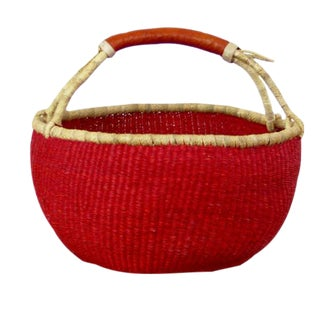 African Bolga Ghana Red Woven Basket For Sale
