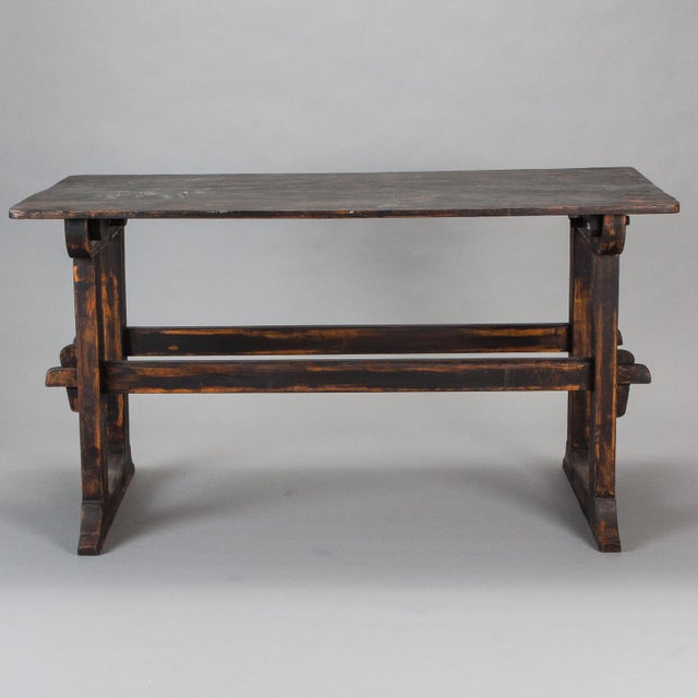 Wood 18th Century Swedish Trestle Table with Black Finish For Sale - Image 7 of 7