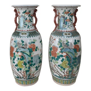 Pair Antique Chinese Vases With Dragons For Sale
