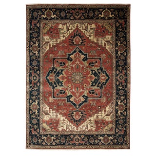 Persian Serapi Style Hand-Knotted Wool Rug - 9′ × 12′ For Sale