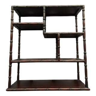 Asian Rosewood Small Table Top Curio Shelf For Sale