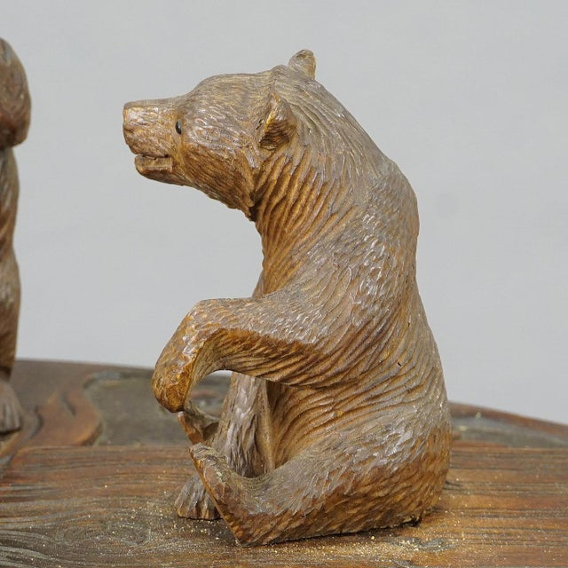 A Nice Black Forest Carved Smoking Side Table With Bears For Sale - Image 9 of 11