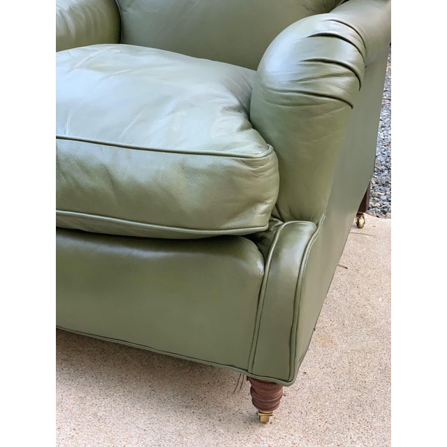 Astonishing Modern Ralph Lauren Sage Green Leather Chair Ottoman Gmtry Best Dining Table And Chair Ideas Images Gmtryco