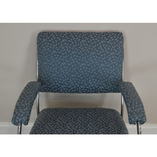 Blue Art Deco Vintage Chrome Frame Pair of Armchairs For Sale - Image 8 of 13
