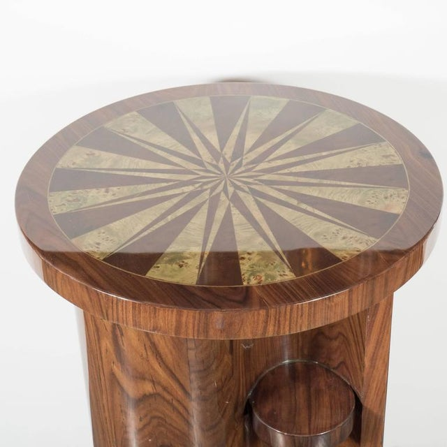 Art Deco Inlaid Starburst Occasional Table in Walnut with Olive Wood Detailing For Sale In New York - Image 6 of 10