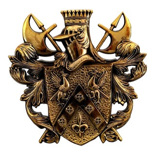 70's Decorative Cast Brass Coat of Arms With Shield and Armor Motif For Sale