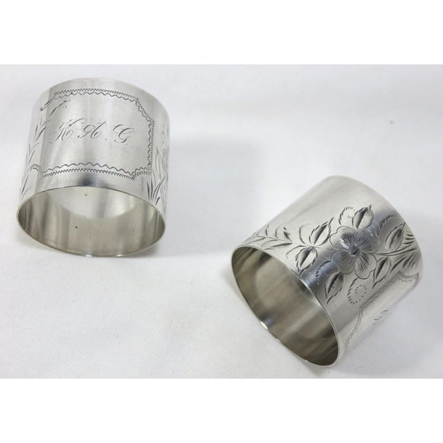 Engraving Large Antique Sterling Silver Napkin Rings - A Pair For Sale - Image 7 of 7