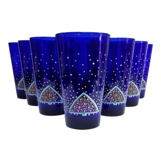 Dansk Winterfest Cobalt Blue Highball Glasses - Set of 10 For Sale