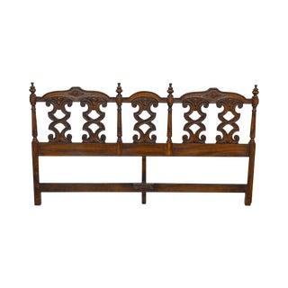Spanish Renaissance Style Vintage Carved Oak King Size Headboard