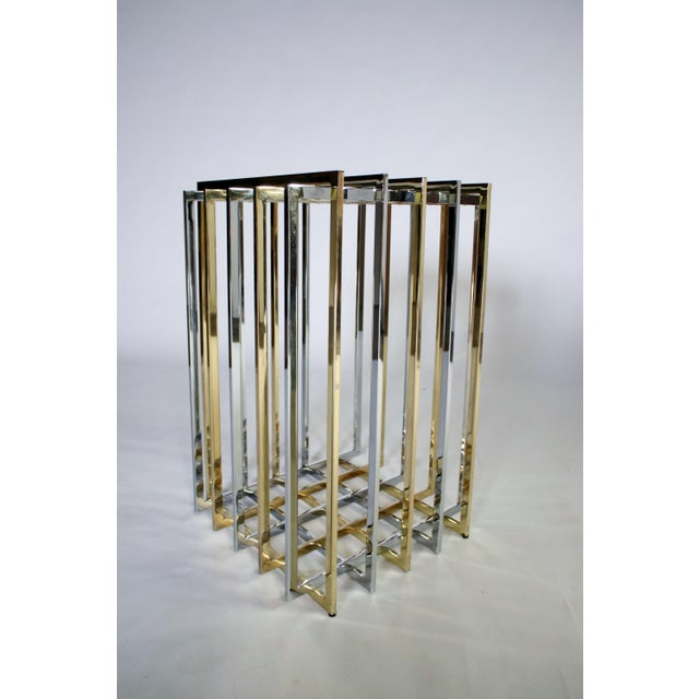 Gold Pierre Cardin Mixed Chrome and Brass Grid Table For Sale - Image 8 of 10