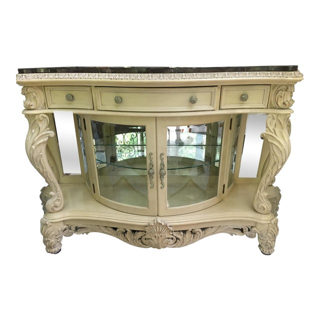 French Carved Server Display Cabinet by Pulaski For Sale