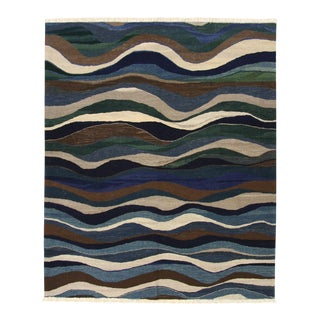 Rug & Relic Ribbons of Indigo Kilim Flatweave | 6'3 X 7'7 For Sale