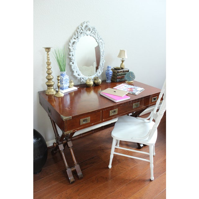 Campaign Style Double X Base Writing Desk - Image 5 of 11